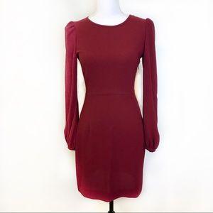 Zara Maroon Long Sleeve Dress Small